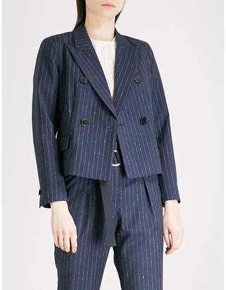 Claudie Pierlot Pinstriped double-breasted wool-blend jacket