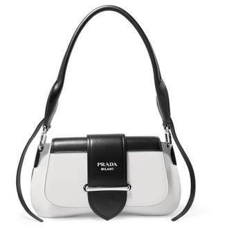 Prada Sidonie Two-tone Leather Shoulder Bag - White