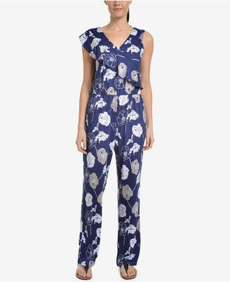 NY Collection Printed & Ruffled Jumpsuit