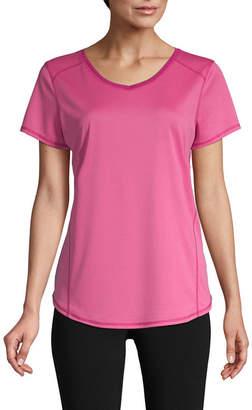 ST. JOHN'S BAY SJB ACTIVE Active S19 Quick Dri Tee Short Sleeve V Neck T-Shirt-Womens