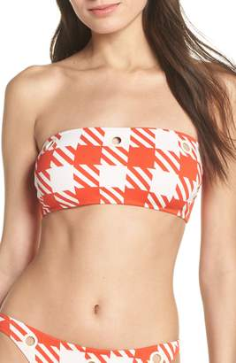 Solid & Striped The Annabelle Lipstick Gingham Bandeau Bikini Top