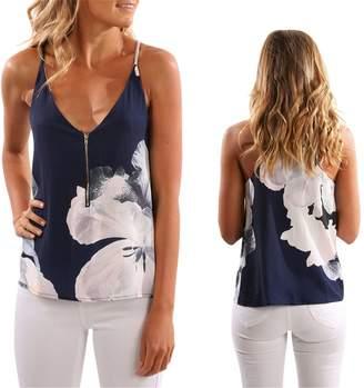QIUHUAXIANG Button-down-shirts QIUHUAXIANG Women Shirts Fashion Flowers Print Halter Sleeveless V Neck Blouse