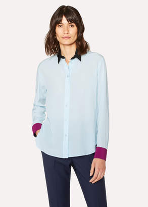 Paul Smith Women's Baby Blue Silk Shirt With Contrasts