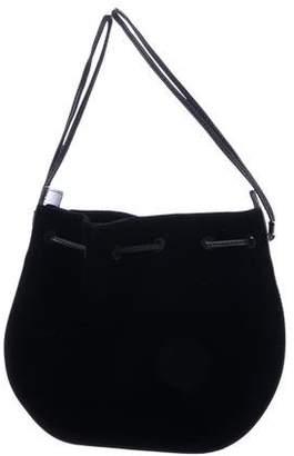 Vanessa Seward Patent Leather-Trimmed Velvet Handle Bag