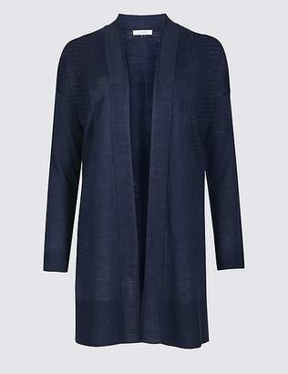 Marks and Spencer Longline Long Sleeve Cardigan with Linen