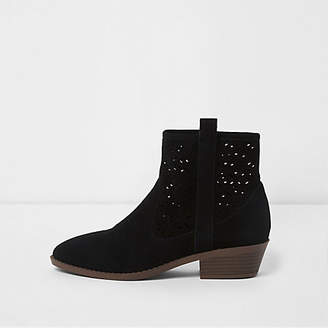 River Island Womens Black laser cut suede western ankle boots