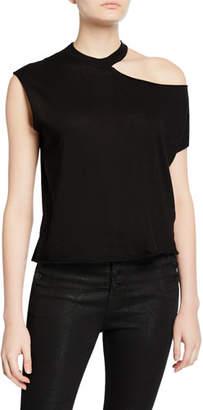 RtA Axel Cold-Shoulder Cotton-Cashmere Top