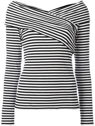 Theory boat neck striped blouse $212.23 thestylecure.com