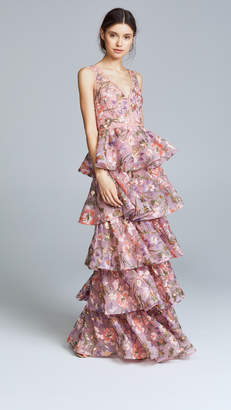 Marchesa Multi Tiered Gown