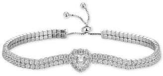 Tiara Heart Cubic Zirconia Bolo Bracelet in Sterling Silver