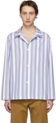 Dries Van Noten Navy and White Casal Shirt