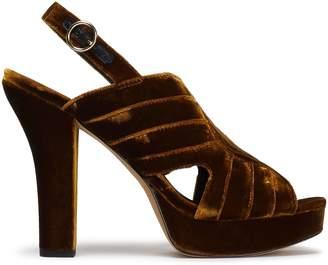 Diane von Furstenberg Tabby Quilted Velvet Platform Slingback Sandals