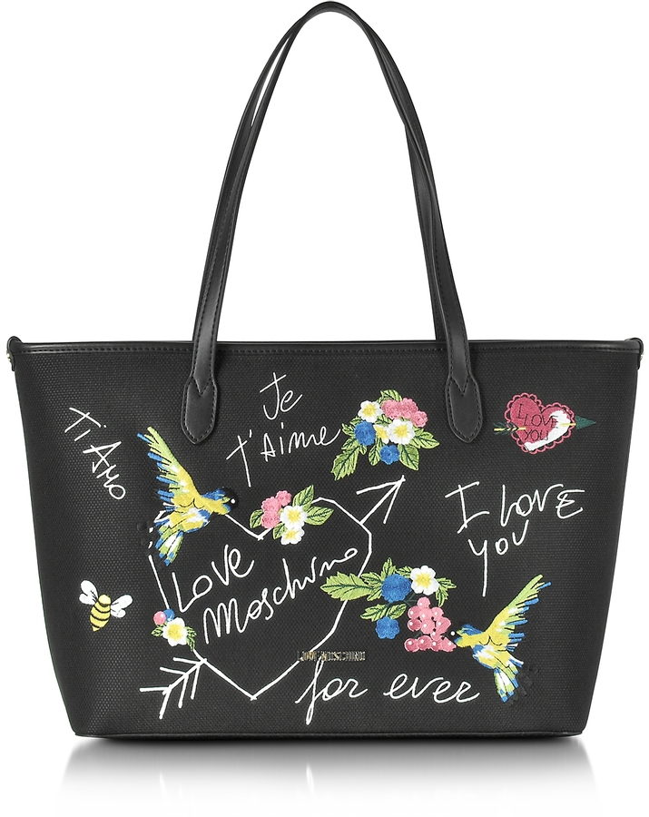 Love Moschino Love Moschino Black Canvas and Eco Leather Tote w/Embroidery I Love You