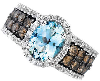 LeVian CORP Grand Sample Sale by Le Vian Sea Blue Aquamarine and 1 1/5 CT. T.W. Chocolate Diamonds & Vanilla Diamonds 14K Vanilla Gold Ring