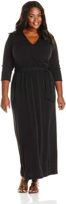 NY Collection Women's Plus-Size 3/4 Sleeve Wrap Front Maxi Dress with Tie