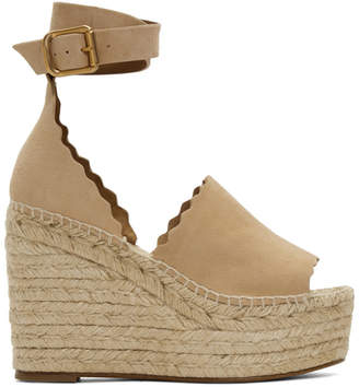 Chloé Beige Suede Lauren Wedge Sandals