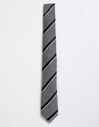 Moss Bros silk blend tie in gray stripe