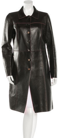 pradaPrada Leather Longline Coat