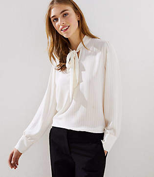 LOFT Textured Stripe Tie Neck Blouse