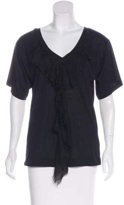 Elizabeth and James Silk-Accented Short Sleeve Top