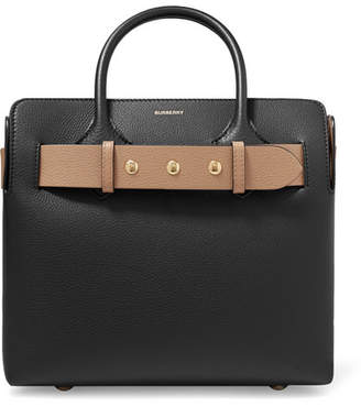 Burberry Belt Small Textured-leather Tote - Black