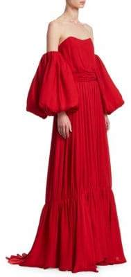 Johanna Ortiz Senora Maria Rosa Balloon-Sleeve Maxi Dress