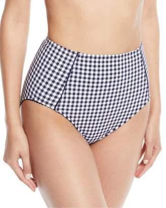 Kate Spade Crosby High-Waist Check Swim Bottoms
