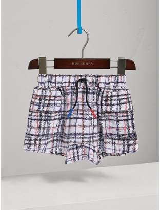 Burberry Scribble Check Silk Drawstring Shorts , Size: 8Y, Black
