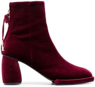 Reike Nen burgundy 80 velvet ankle boots