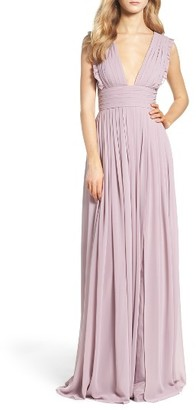 Women's Monique Lhuillier Bridesmaids Deep V-Neck Ruffle Pleat Chiffon Gown $298 thestylecure.com