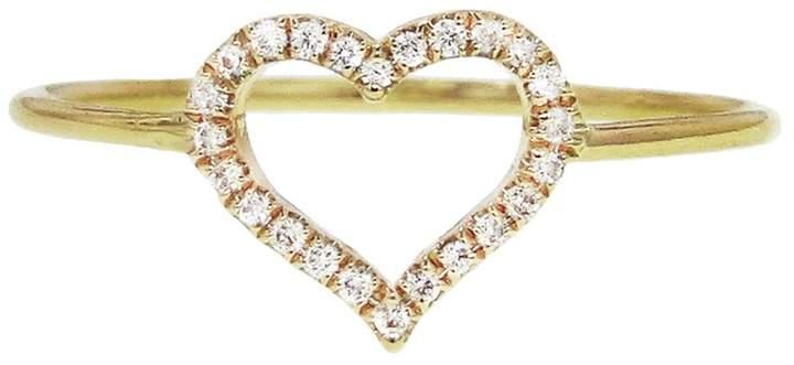 Jennifer Meyer Diamond Open Heart Stacking Ring - Yellow Gold