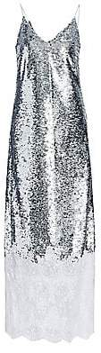 Erdem Women's Arden Lace Trim Sequin Slip Dress