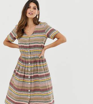 Esprit striped V-neck midi shirt dress