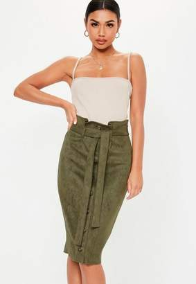 e825916cb8 Missguided Khaki Faux Suede Button Front Paperbag Skirt