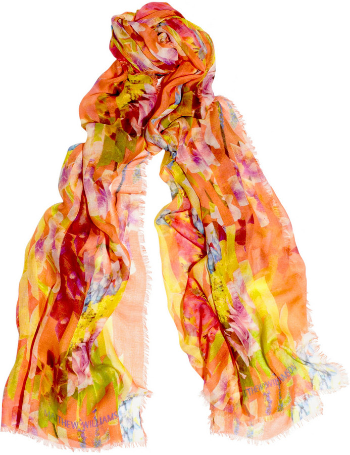 Matthew Williamson Printed modal and cashmere-blend scarf