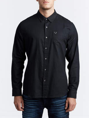 True Religion MENS CLASSIC HERRINGBONE BUTTON UP SHIRT