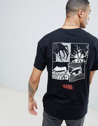 Globe Cartoon Print T-Shirt in Black