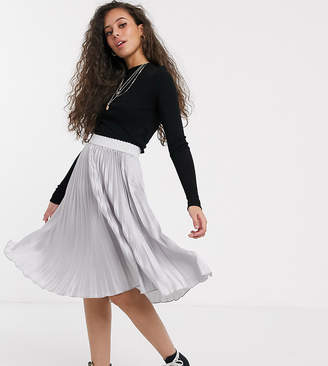 Outrageous Fortune Petite pleated midi skirt with contrast waistband in silver