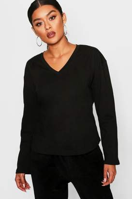 boohoo Basic V Neck Cotton Long Sleeve T-Shirt