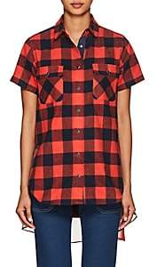 Sacai Women's Checked Cotton Flannel Shirt - Orange, Navy