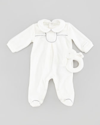 Armani Junior Footie with Rattle Gift Set, Off White