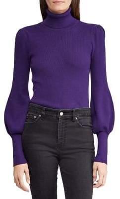 Lauren Ralph Lauren Petite Petite Slim-Fit Puffed-Sleeve Sweater