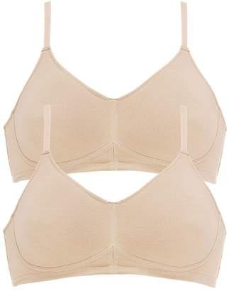 Naturana Women's Pack of 2 Organic Cotton Soft Bras 5586 Light Beige 34 B