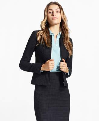 Brooks Brothers Petite Plaid Stretch-Cotton Jacquard Jacket
