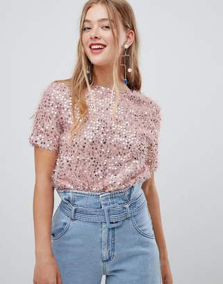 New Look sequin t shirt in nude