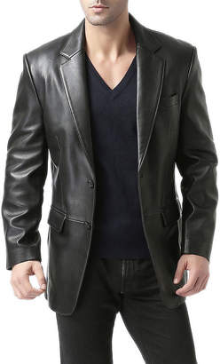 BGSD Men's ''Richard'' Classic Two-Button New Zealand Lambskin Leather Blazer - Short