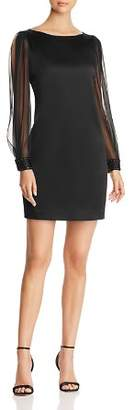 Elie Tahari Jilly Studded Sheer Sleeve Dress
