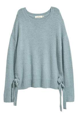 H&M Knit Sweater with Ties - Turquoise - Women