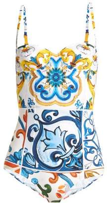 2a956a7802c36 COM · Dolce   Gabbana Majolica Print Swimsuit - Womens - Blue Multi