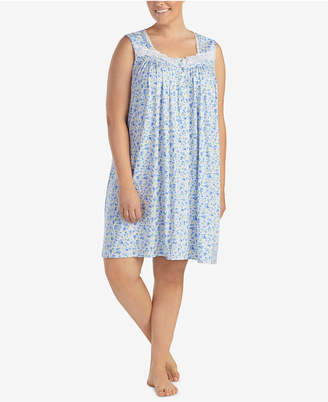 b86cc0f710 Eileen West Plus Size Lace-Trimmed Printed Knit Nightgown